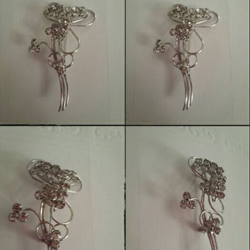 flower Sterling silver flower BM Co rhinestones