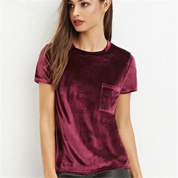 2017 Summer Casual Velvet Pocket T-shirt tops Short Sleeve Wine Red Top Girls Velour Sexy Slim Elastic Tshirt Clothing