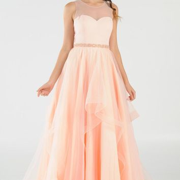 Illusion Beaded Waist Layered Long Prom Dress Blush