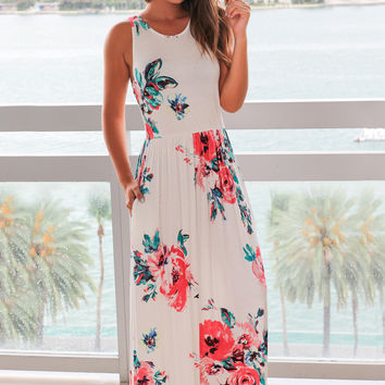 Ivory and Pink Floral Sleeveless Maxi Dress