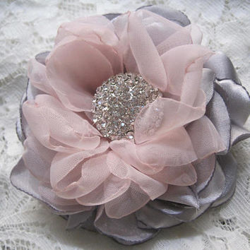 Gorgeous Grey Chamise Satin with Blush Pink Chiffon Hair Clip Bride Bridesmaid Mother of the Bride Rhinestone Accent Hair Accessories
