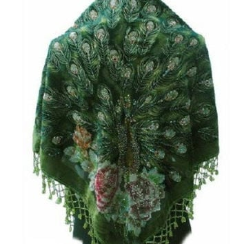 Olive Handmade Hand Beaded Silk Velvet Triangle Peacock Shawl