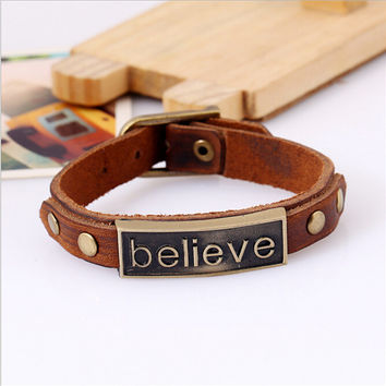 "Alloy Leather Bracelet ""believe"" Bracelet"