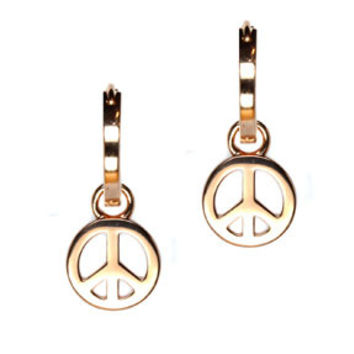 Sterling Silver Rose Gold Vermeil Peace Earring Charms