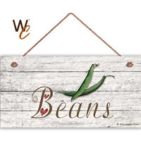 "Beans Sign, Garden Sign, Rustic Decor, Distressed Wood, Weatherproof, 5"" x 10"" Sign, Green Beans Vegetable, Gift For Gardener, Made To Order"
