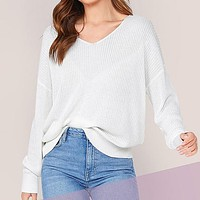 White Solid V Neck Drop Shoulder Knit Sweater Women Tops Long Sleeve Casual Basic Office Ladies Sweaters