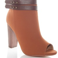 Dollhouse Footwear Trendy To Boot Peep Toe Ankle Booties - Chest
