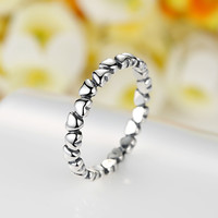 100% S925 Sterling Silver Rings For Women Compatible With European Classic love ring Fit Pandora Original Ring Jewelry