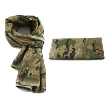 Tactical Military camouflage Scarf Multifunctional Army Mesh Breathable Scarf Wrap Mask Shemagh Veil For Airsoft hunting Hiking