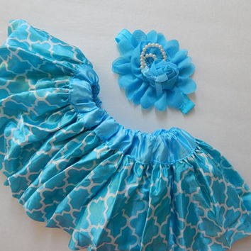 Baby Girl's Pettiskirt, Matching Headband, Aqua Blue Quatrefoil Pettiskirt, 6-12m, baby's 1st birthday outfit, photo prop, skirts, Easter