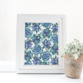 Watercolor Succulent Cactus Pattern Art Print