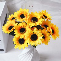 Artificial Flower 7 Branches Artificial Sunflower Length 30cm For Wedding Party Home Festival Decoration