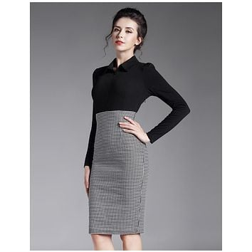 Victoria Beckham Swallow SEXY Pencil Dress Elasticity Cotton Turn-down Collar OL Office Dress Woman