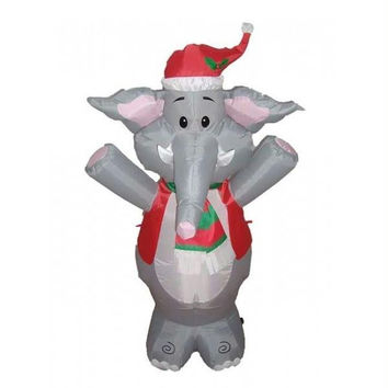 Inflatable Elephant Christmas Yard Art - Self Inflates In Minutes, Blower Included