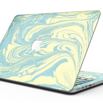 Marbleized Swirling Mint and Yellow - MacBook Pro with Retina Display Full-Coverage Skin Kit