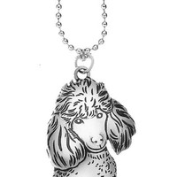 Poodle Silver Dog Car Charm By Ganz