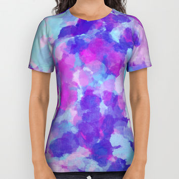 Abstract Violet Flowers All Over Print Shirt by Oksana