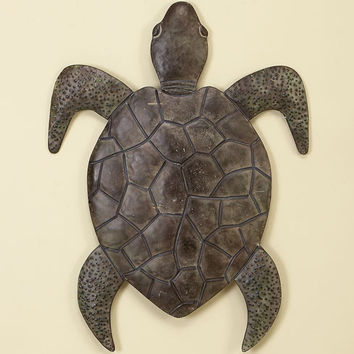 Benzara Classic Walking Turtle Metal Wall decor Sculpture with Detailing