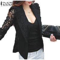 2016 Hot Sale Fashion Coat Sexy Sheer Lace Blazer Suit Outwear Women OL Formal Slim Jacket Black White Shirt Plus Size S-3XL
