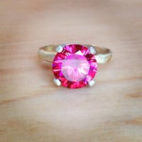 Pink Tulip Gold and Silver Cocktail Ring