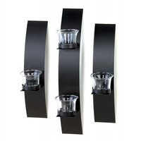 Black Wall Candle Holder Set