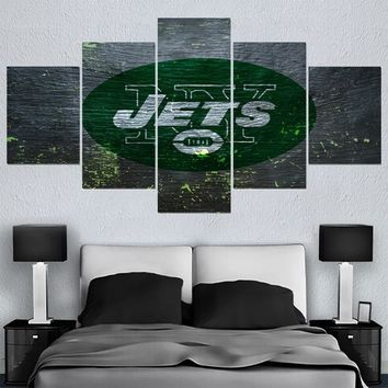 New Modern Cartoon Home Decor Picture New York Jets 5 Panel Canvas Painting Calligraphy Sport Ball Team Wall Art Paintings