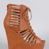 Strappy Lace Up Platform Wedge
