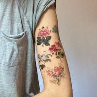 Floral temporary tattoo. 5 victorian flower tattoos. Liquiskin