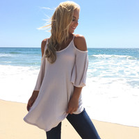 Gratitude Open Shoulder Tunic Blouse In Cream