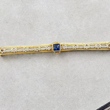 Art Deco 10K Gold Lacy Filigree Shawl Bar Stock Tie Pin Brooch
