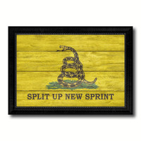 Split Up New Sprint Military Flag Texture Canvas Print with Black Picture Frame Gift Ideas Home Decor Wall Art