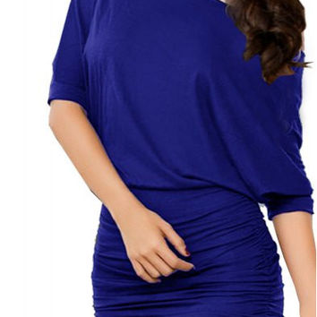 Blue 3/4 Batwing Sleeve Mini Dress
