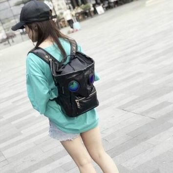 Cool Backpack school Europe Hot Fashion Cool Alien Couple Backpack Designer High Quality Holographic Backpack Hat Removable Travel School Backpack AT_52_3