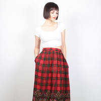 Vintage Midi Skirt 1980s Preppy Plaid Paisley Mixed Print Skirt 80s Punk Tartan Plaid Knee Length Skirt Red Black Draped Pockets M L Large