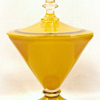 Lancaster Glass Candy Dish, Yellow and Black, Art Deco Style, Covered Compote with Lid, Vintage, Fired on Color
