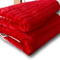 Tache 50 x 60 Red Polar Faux Fur with Sherpa Throw Blanket