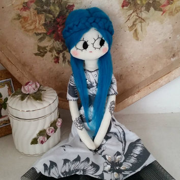 Handmade cloth doll, ooak doll, rag doll, soft doll, tulle skirt, doll with tattoos