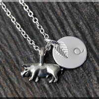 Silver Little Piggy Charm Necklace, Initial Charm Necklace, Personalized, Pig Pendant, Farm Animal Jewelry, Monogram Pig Necklace