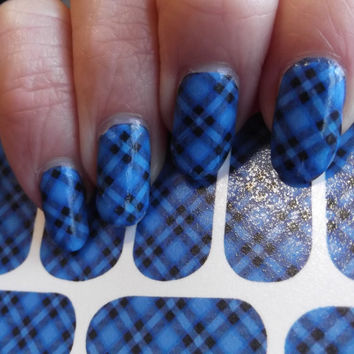 Free Shipping - BLUE PLAID Nail Art Decals (PDB) Tartan Full Nail Decoration Long and Short Nails -  Waterslide Not Stickers