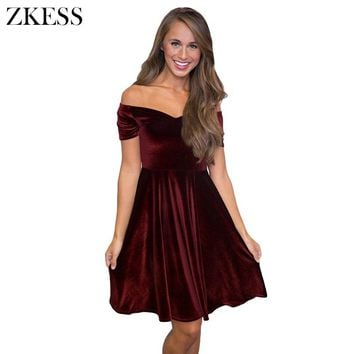 Zkess Women Cute Sweet Velvet Off Shoulder Pleated Swing Dress Slash Neck Short Sleeve Mini Skater Dress for Party Club LC61861