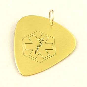 medical alert necklace brass in guitar pick shape