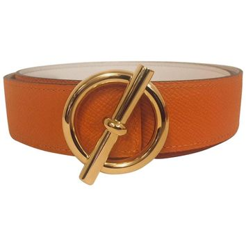 Hermès Glenan GHW Reversible Belt Kit Orange Epsom and White Swift