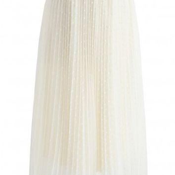 Done with You Pleated Polka Dot Mesh Skirt in Cream