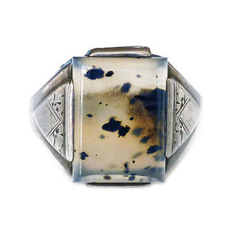 Moss Agate Ring, Sterling Silver, Sterling Ring, Mens Ring, Thick Wide, Vintage Jewelry for Him