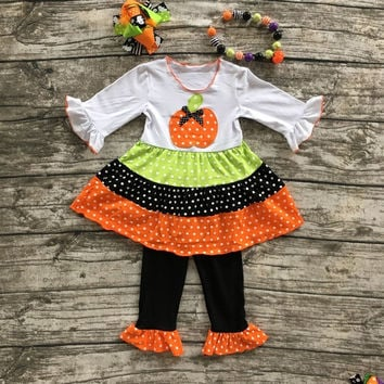 girls pumpkin outfits kids Halloween pant sets girls Halloween clothes kids ruffle pant sets with necklace and hairhows