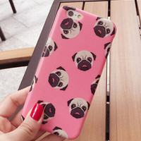 Cute Pink Pug Cover Case for iPhone 7 5s 5se 6 6s Plus Gift 332 + Nice Gift Box
