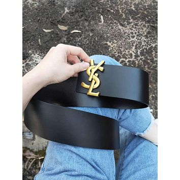 YSL Hot Sale Women Retro Smooth Buckle Versatile Leather Belt Black