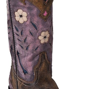 "Women's Laredo ""Miss Kate"" Tan/Pink Arrow Inlay Snip Toe Western Boots 52137"