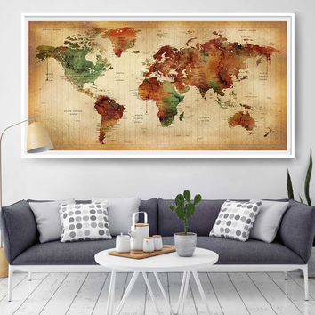 Large World map poster, Art Print, World map vintage style, Illustration, World map push pin Artwork, Abstract wall art, Home Decor (L109)