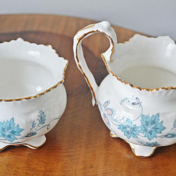 Aynsley 'Delphine' Creamer And Sugar Bowl, Vintage Aynsley Fine Bone China